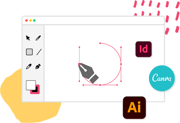 <p class='lead'>Don't waste time learning new design software.</p> Mobimag supports Canva, Adobe Illustrator, InDesign, Photoshop or any tool that exports to PDF. There's no need to download and install new software, just export your pages as PDF files and upload them into Mobimag. image